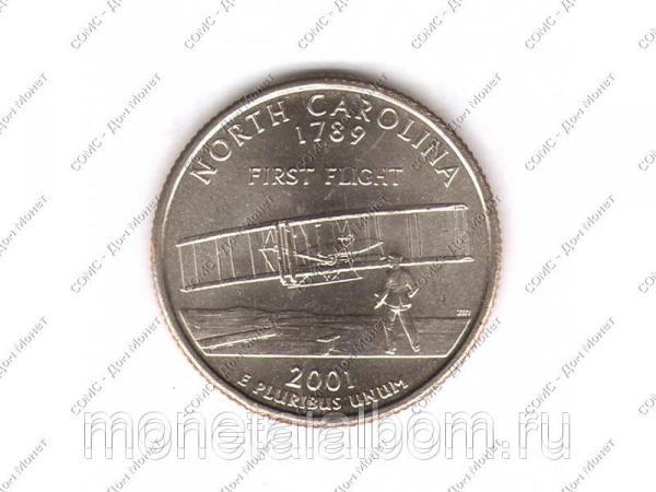 Фото Монета Квотер США 2001 г., North-Carolina 1789 г. (D), Санкт-Петербург